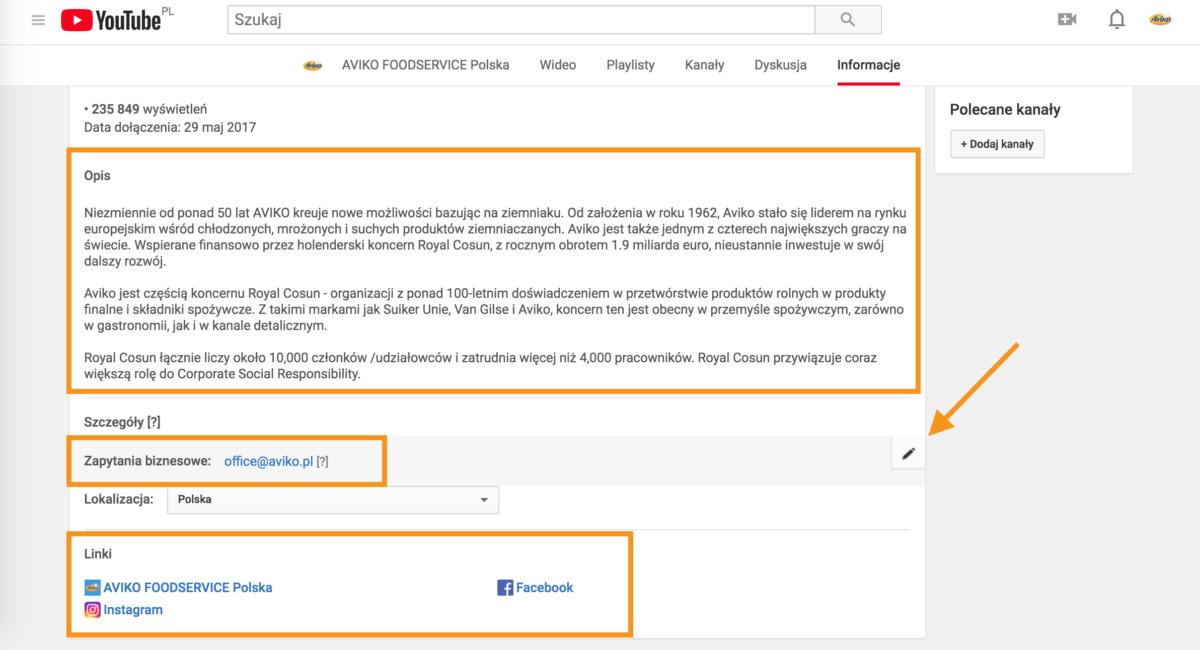 Podstawowe ustawienia kanału w YouTube, czyli opis, e-mail do konaktu i linki do innych miejsc w internecie związane z kanałem