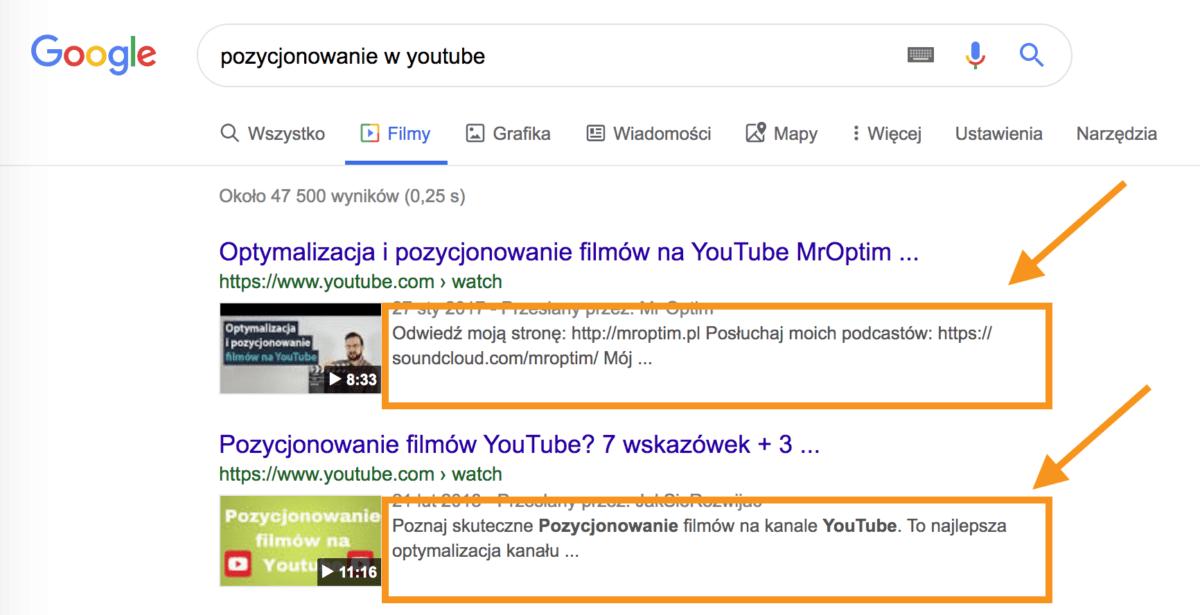 Opis do filmów w youtube ma znaczenie. Pierwsze dwie linijki pokazująsię w wynikach organicznych podczas wyszukiwań w Google