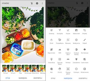 Style i narzędzia, które można wykorzystać w aplikacji Snapseed