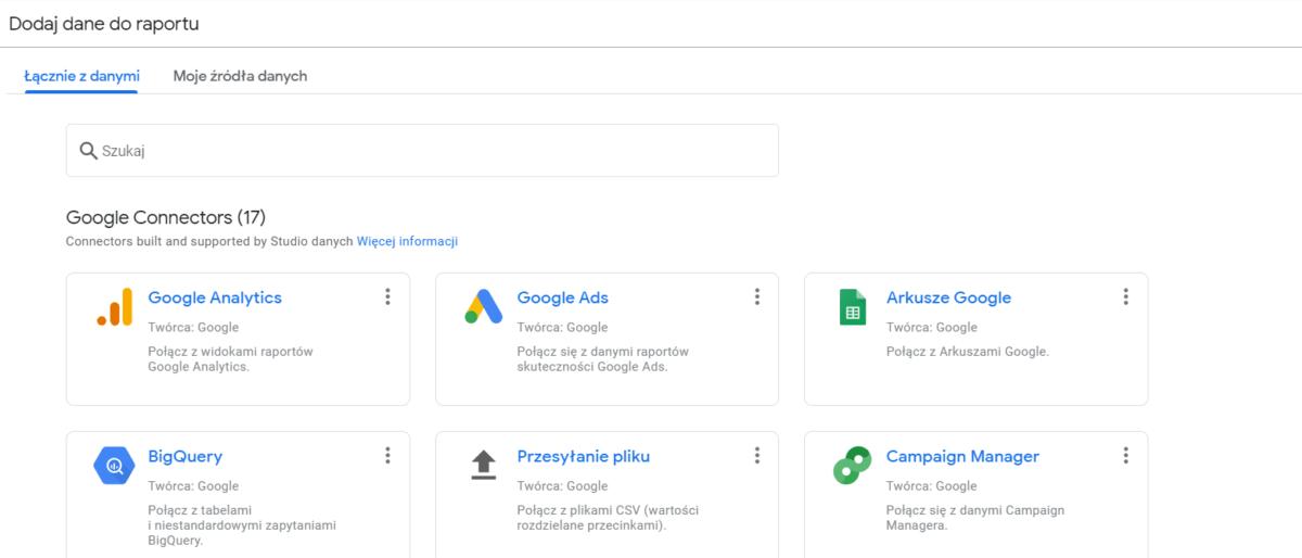 Wybór źródła danych Google Data Studio