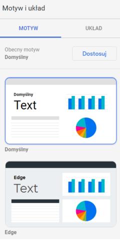 Wybór motywu w Google Data Studio