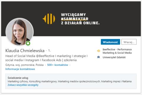 Profesjonalnie uzupełniony profil na LinkedIn