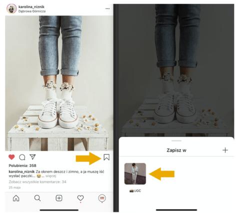 Przykład roboczej kolekcji, która służy do zapisywania interesujących zdjęć do wykorzystania w ramach User-Generated Content