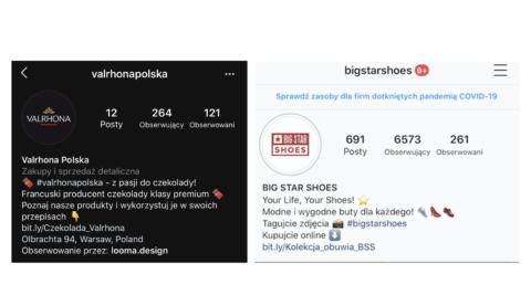 Przykładowe BIO z aktywnymi hashtagami