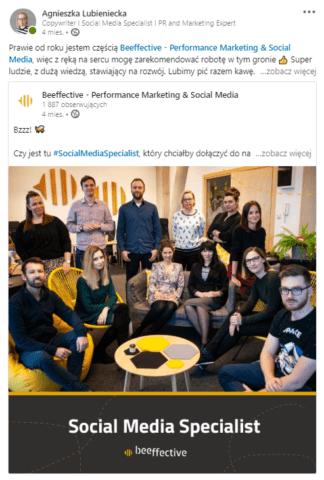 Publikowanie ogłoszenia o pracę na prywatnym profilu na LinkedIn