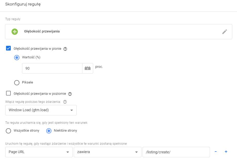 Głębokość przewijania_Google Tag Manager