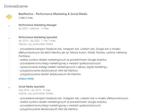 Uzupełnianie doświadczenia na profilu prywatnym_LinkedIn