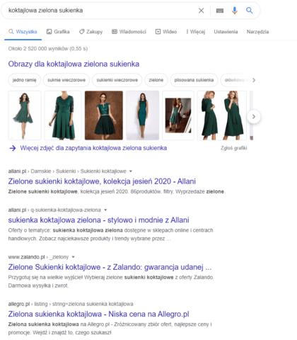 Pierwsze pozycje_filtrowanie_pozycjonowanie sklepu internetowego