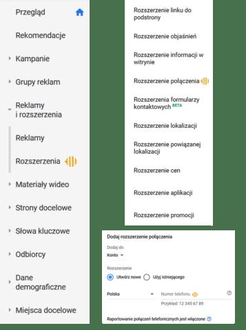 Dodawanie rozszerzenia połączeń_mierzenie konwersji telefonicznych z Google Ads