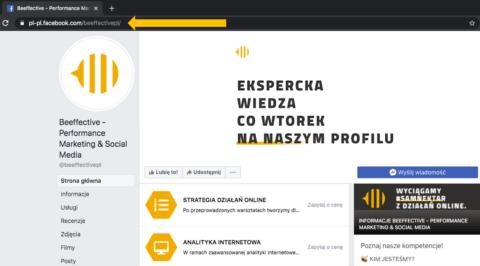 Spersonalizowany URL_firmowy fanpage na Facebooku