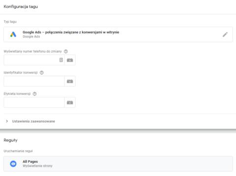 Tworzenie tagu - połączenia z witryny