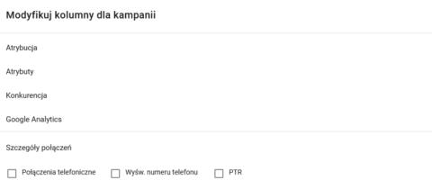 Włączanie połączeń telefonicznych w widoku kolumn z kampanii Google Ads