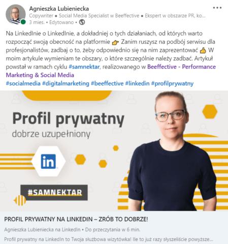 Aktywność na LinkedIn_publikacja artykułu