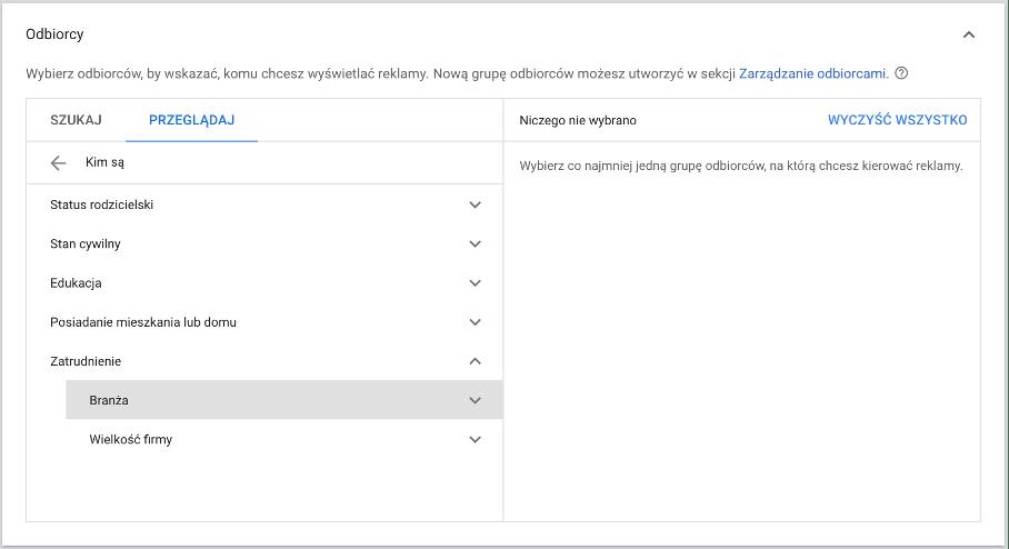 obrazek przedstawia sekcję odbiorcy w Google Ads